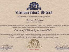 Azteca-University-Hukuk-Doktorasi-Diplomasi