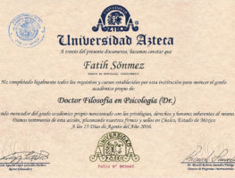 Azteca-University-Psikoloji-Doktorasi-Diplomasi