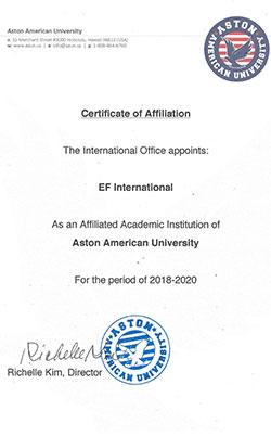 Aston-American-University-Temsilcilik-Sertifikasi