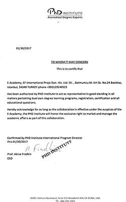 PHD-institute-temsilcilik-Sertifikasi